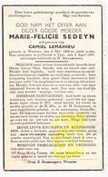 DP Marie F. Sedeyn ° Woesten Vleteren 1888 † Ieper 1947 X Camiel LeMahieu - Devotion Images