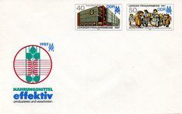 """DDR Amtl. GZS-Umschlag U 6 40(Pf) Neben 50(Pf) Mehrfarbig """"Leipziger Messe 1987"""" Ungebraucht - DDR"""