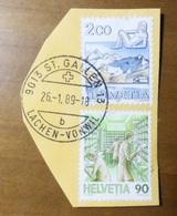SVIZZERA - SWITZERLAND ST GALLEN LACHEN VONWIL 26-01-1989 Francobolli 1983 E 1986 Helvetia - Vedi Foto - Usati