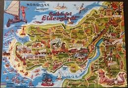 Ak Deutschland - Landkarte , Map - Halbinsel Eiderstedt - Maps