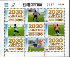 URUGUAY, 2018, MNH,FOOTBALL, SOCCER, WORLD CUP 2030 JOINT CANDIDATE BID URUGUAY-ARGENTINA-PARAGUAY, SHEETLET OF 5v+TABS - World Cup