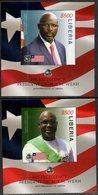LIBERIA, 2018, MNH, PRESIDENT GEORGE WEAH, FAMOUS FOOTBALLERS, FLAGS, 2 S/SHEETS - Famous People