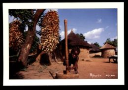 C421 CÔTE D'IVOIRE IVORY COAST - FOLKLORE ETHNICS PEOPLE COSTUMES WOMAN CHILDREN -PILAGE DU RIZ PAR UNE JEUNE FILLE - Côte-d'Ivoire