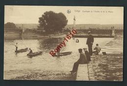 Liège. Confluent De L'Ourthe Et De La Meuse. Bateux, Pêcheurs. - Liege