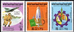 9Jahre Revolution 1978 Libyen 655/7 ** 3€ Soldaten Kriegs-Schiff Wirtschaft Technik Industrie Military Set Bf Libya - Libye