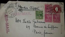 O) 1939 UNITED STATES-USA , PRESIDENTIAL -GEORGE WASHINGTON SC 804 1c -WILLIAM H. HARRISON SC 814 9c, AIRMAIL, FROM HUGO - Postal Stationery