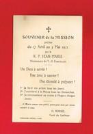 Image Pieuse ... Généalogie ... Souvenir De Mission 1921 Curé Du LOCHEUR - Devotion Images