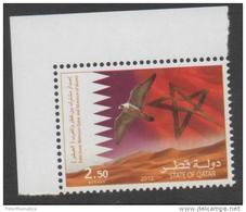 QATAR,2013,MNH, BIRDS, FALCON, FLAG, DESERT, 1v - Birds