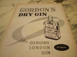 ANCIENNE PUBLICITE DRY GIN DE GORDON S 1955 - Alcools