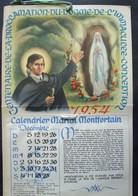 Calendrier. 16. Centenaire De La Proclamation Du Dogme De L'Immaculée 1954 - Calendriers