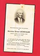 Image Pieuse ...Généalogie ... Souvenir De M Ernest LECHEVALIER Rappelé En 1949 Luc Ou Langrune - Devotion Images