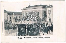 B3238- Reggio Calabria, Piazza Vittorio Emanuele, Animata, Non Viaggiata - Reggio Calabria