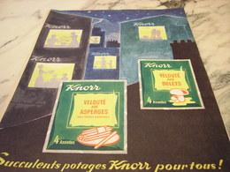 ANCIENNE PUBLICITE VELOUTE POTAGE SOUPE  DE KNORR 1955 - Publicités
