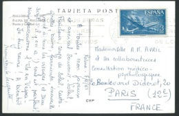 Carte Postale DE Palma De Mallorca Affranchie Par Avion Yvert N° 272 EN  JUIN 1961  - Lx2702 - 1961-70 Briefe U. Dokumente
