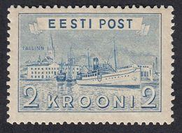 ESTONIA - 1938 - Yvert 158 Nuovo Con Gomma Danneggiata, Porto Di Tallin, 2 Krooni, Blu. - Estonie