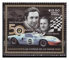 2018 MÉXICO  50 Años Ganadores 24 Horas De Le Mans, PEDRO RODRÍGUEZ Y LUCIEN BIANCHI, STAMP MNH 50 Anniv.  CAR RACES - México