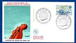 Enveloppe Premier Jour /  Salon Aéronautique Et De L'Espace  / Le Bourget / 16-17 Juin 1979 - FDC