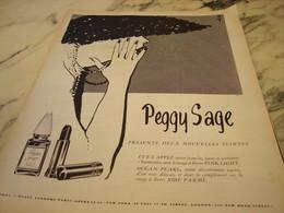 ANCIENNE PUBLICITEDEUX NOUVELLE TEINTES VERNIS A ONGLES PEGGY SAGE 1955 - Parfums & Beauté