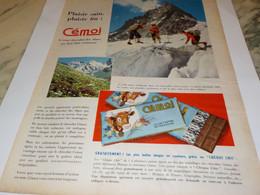 ANCIENNE PUBLICITE LA MONTAGNE ET CHOCOLAT CEMOI 1955 - Affiches