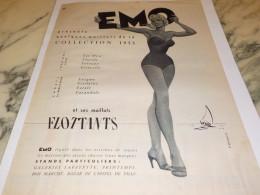 ANCIENNE PUBLICITE LE MAILLOT FLOTTANTS COLLECTION  EMO 1955 - Habits & Linge D'époque