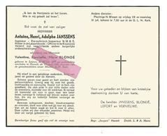 D 523. ANTOINE H. A. JANSSENS - Ingenieur/ Techn. Inspecteur N.M.B.S./Ridder Leopoldsorde - °LEUVEN 1883 / +HASSELT 1961 - Devotion Images