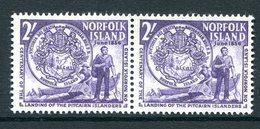 Norfolk Island 1956 Centenary Of Landing Of Pitcairn Islanders - 2/- Pair Types I & II MNH (SG 20 & 20a) - Norfolk Island