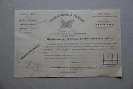 Mutuelle Générale Française, Archives Notariales, Me Caffin, Notaire à Haudivillers (Oise), Réduction Prime, 1897 - Vieux Papiers