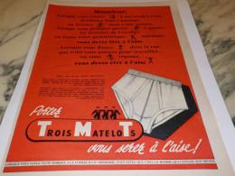 ANCIENNE PUBLICITE MONSIEUR CE SLIP DES TROIS MATELOTS 1955 - Habits & Linge D'époque