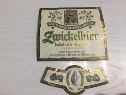 Ancienne Étiquette 1.1 BIÈRE ÉTRANGÈRE MONSCHAUER ZMICKELBIER HEFETRÜB DUNKEL - Bière