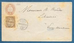 ENVELOPPE 5c. BLASON ET COLOMBE + 5c. HELVETIA 1873 ST. FIDEN TO MONTREUX - Interi Postali