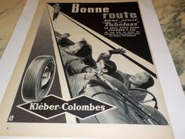 ANCIENNE PUBLICITE BONNE ROUTE PNEU  KLEBER COLOMBES 1955 - Voitures