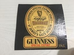 Ancienne Étiquette 1.1 BIÈRE ÉTRANGÈRE GUINNESS EXPORT STOUT - Bière