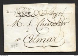 Haut Rhin-Lettre-Marque Linéaire 66 HUNINGUE-Pour Colmar - 1701-1800: Précurseurs XVIII