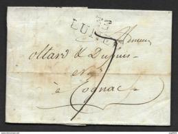 Hérault-Lettre-Marque Linéaire 33 LUNEL (35*14)-Pour Cognac-1793 - Marcophilie (Lettres)
