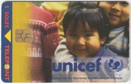 PERU A-105 Chip Telepoint - Int. Organisation, Unicef, Child - Used - Peru