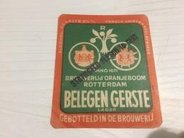 Ancienne Étiquette 1.1 BIÈRE ÉTRANGÈRE BELEGEN GERSTE LAGER ROTTERDAM GEBOTTELD IN DE BROUWERIJ - Bière