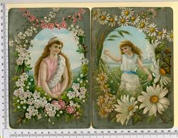 2 CHROMOS LITHOS..GRAND FORMAT...H  18 Cm    JEUNES FEMMES ENTOURÉES DE FLEURS....FOND ARGENTE - Vieux Papiers