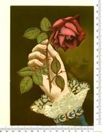 CHROMO LITHO..GRAND FORMAT...MAIN AVEC UNE ROSE....IMPORTANT RELIEF - Vieux Papiers