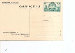 France - Mémorial Australien De VillersBretonneux ( EP Neuf En Vert à Voir) - Postal Stamped Stationery