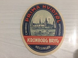 Ancienne Étiquette 1.1 BIÈRE ÉTRANGÈRE WIIBROES PRIMA HVIDTØL KRONBORG BRYG HELSINGØR - Beer