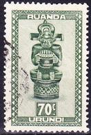 Ruanda-Urundi - Zepterfigur, Holz, Batshokwe-Kunst (Mi.Nr.: 115) 1948 - Gest Used Obl - Ruanda-Urundi