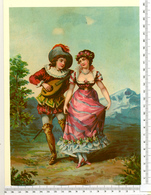 CHROMO LITHO..GRAND FORMAT...H  25 Cm...LA SERENADE....MANDOLINE - Vieux Papiers