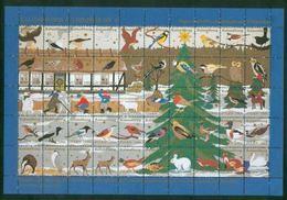 Denmark Christmas Sheet 1994 Kalundborg Animals. Owl,Birds,Fox,Horse,Swan,Hare, - Full Sheets & Multiples