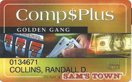 Sam's Town Tunica MS - 7th Issue Golden Gang Slot Card - Casino Cards