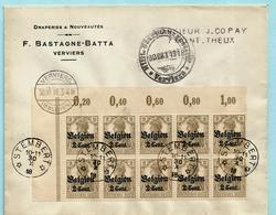 OC 10 (x10) Op Omslag, Relais/sterstempel STEMBERT 30/10/1918 Via VERVIERS 30/10/1918 + Censuur Naar Theux - Guerre 14-18
