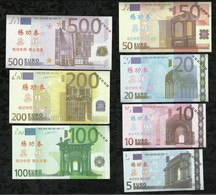 LOT DE 7 BILLETS ECHANTILLON 5/ 10/ 20/ 50/ 100 /200 /500 EUROS . NEUFS . - EURO