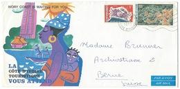 ENVELOPPE ABIDJAN COTE D'IVOIRE 1973 POUR BERNE SUISSE / CRABE & VILLAGE COUESSESSO - Ivory Coast (1960-...)