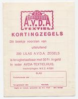 Spaarboekje Zegels: A.v.d.A Textiel Kortingzegels - Seals Of Generality