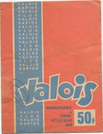 Valois - Vlug - Rapide. 'Remboursable A 50 F' Spaarboekje Volledig. - Cachets Généralité