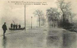 VERNEUIL SUR SEINE CRUE 1910 ROUTE DE VERNOUILLET - Verneuil Sur Seine
